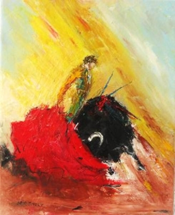 Quadro taurino de Maria Tinoco, dia 20 a leilão