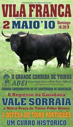 Toiros Vale Sorraia em Vila Franca dia 2 de Maio