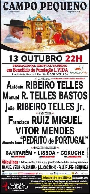 Taurodromo.com transmite em direto do Campo Pequeno o Festival Taurino a favor da Fundação LVida