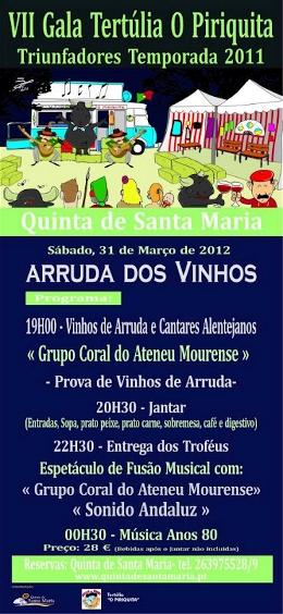 VII Gala da Tertúlia O Piriquita - Arruda dos Vinhos