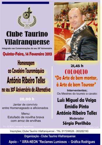 António Ribeiro Telles homenageado no Clube Taurino Vilafranquense