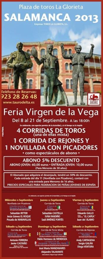 Cartaz da Feira de Salamanca com a presença portuguesa da ganadaria Passanha
