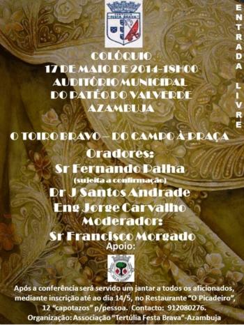 Tertúlia Festa Brava no mês de Maio próximo - Mês da Cultura Tauromáquica da Vila