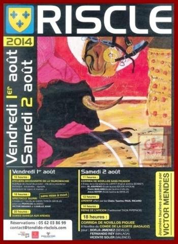 O cartaz das Jornadas Taurinas de Riscle com Vítor Mendes