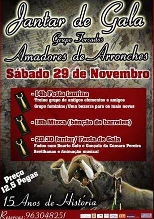 A 29 de Novembro realiza-se o jantar de Gala dos Amadores de Arronches